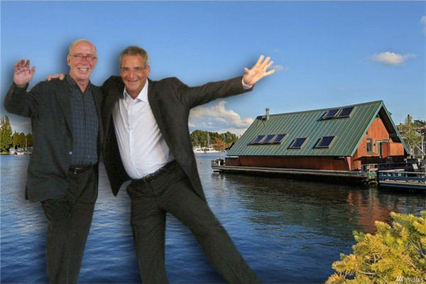 Norman Turgeon and Jerry Raine of Turgeon Raine Jewelers, inset into Portage Bay, with Turgeon's floating home at right