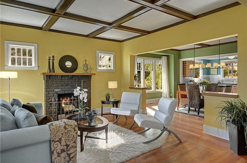 High ceilings and rich colors in this spacious living room.
